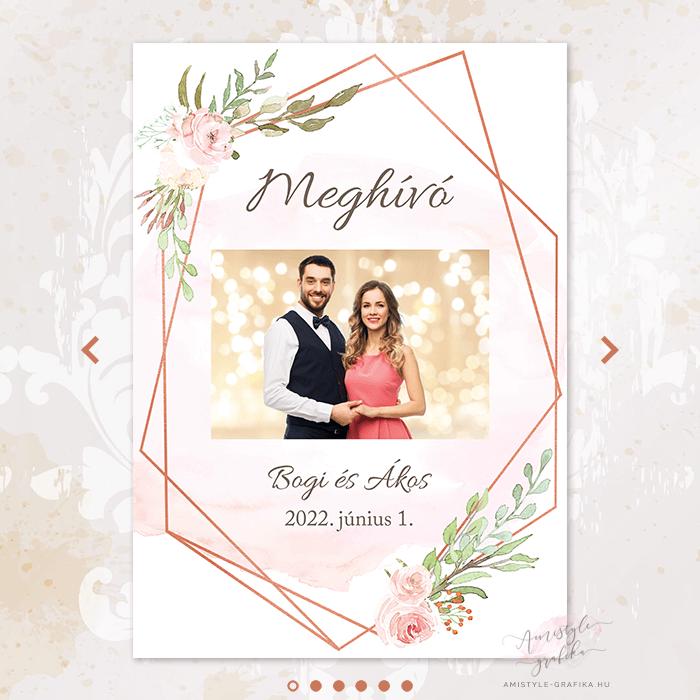 Geometrikus Digitális Esküvői Meghívó - Mini Esküvői Honlap