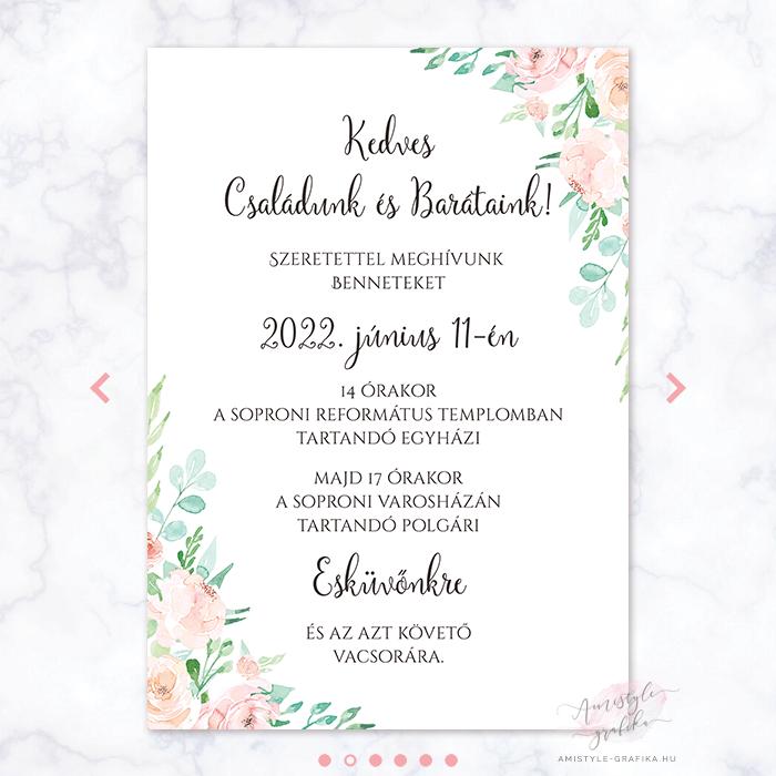 Korall Menta Online Esküvői Meghívó - Mini Esküvői Honlap