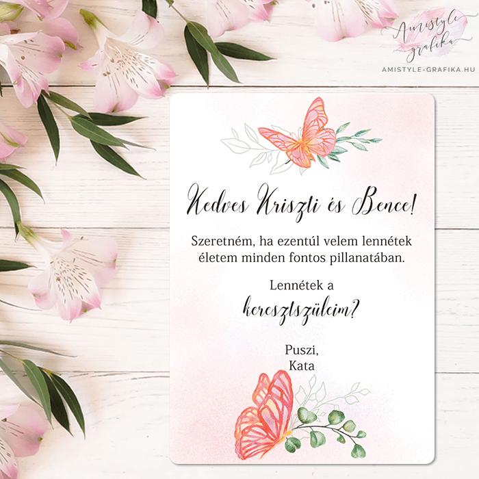 Rózsaszín Pillangós Keresztszülő Felkérő Lap
