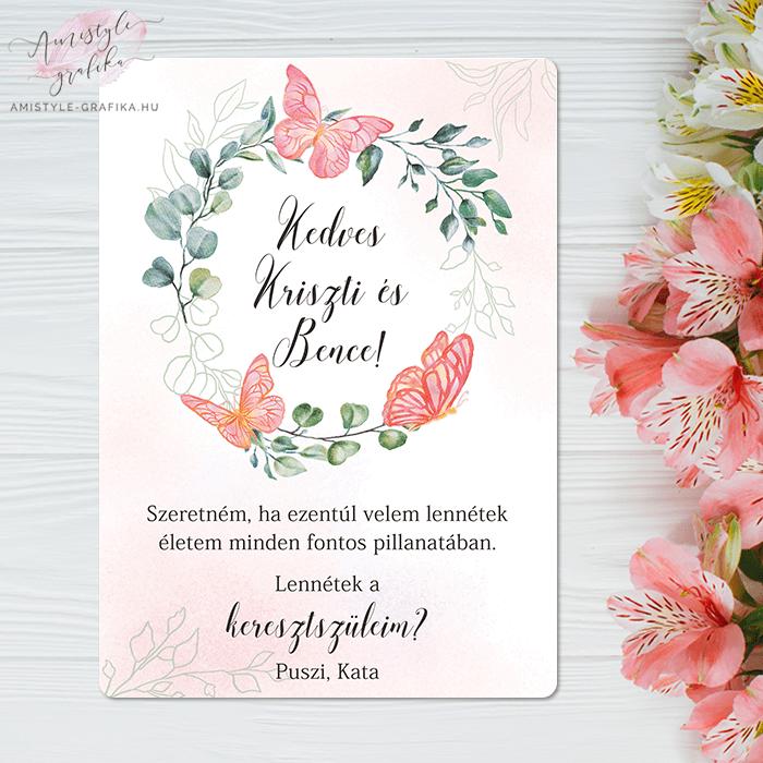 Pink Pillangós és Virágkoszorús Keresztszülő Felkérő Lap