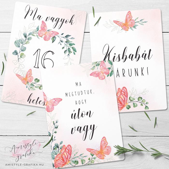 Pink Pillangós Kismama Mérföldkő Kártya Csomag - 38 darabos