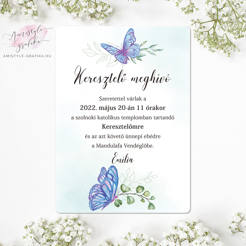 Kék Akvarell Pillangós Keresztelő Meghívó