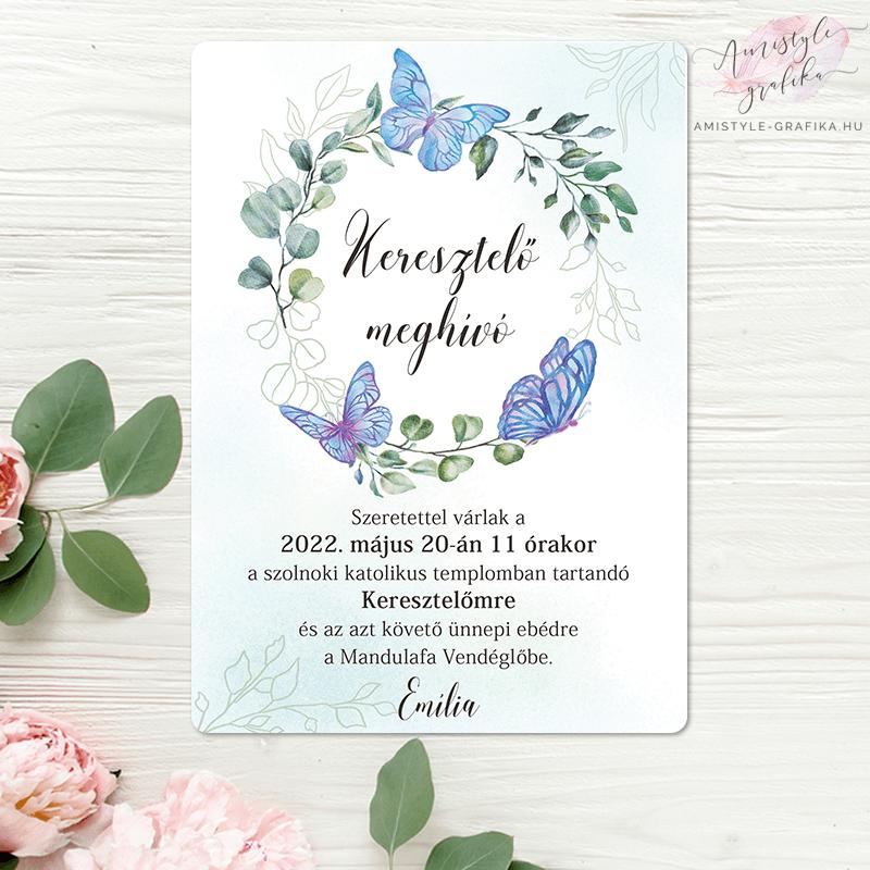 Kék Pillangós Virágkoszorús Keresztelő Meghívó