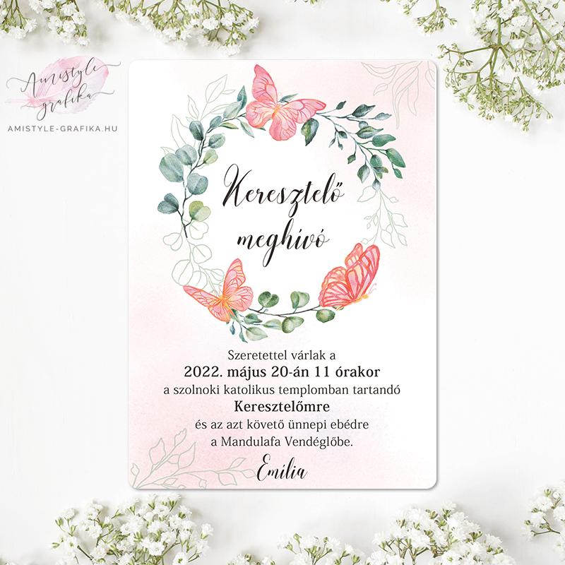 Pink Pillangós Virágkoszorús Keresztelő Meghívó