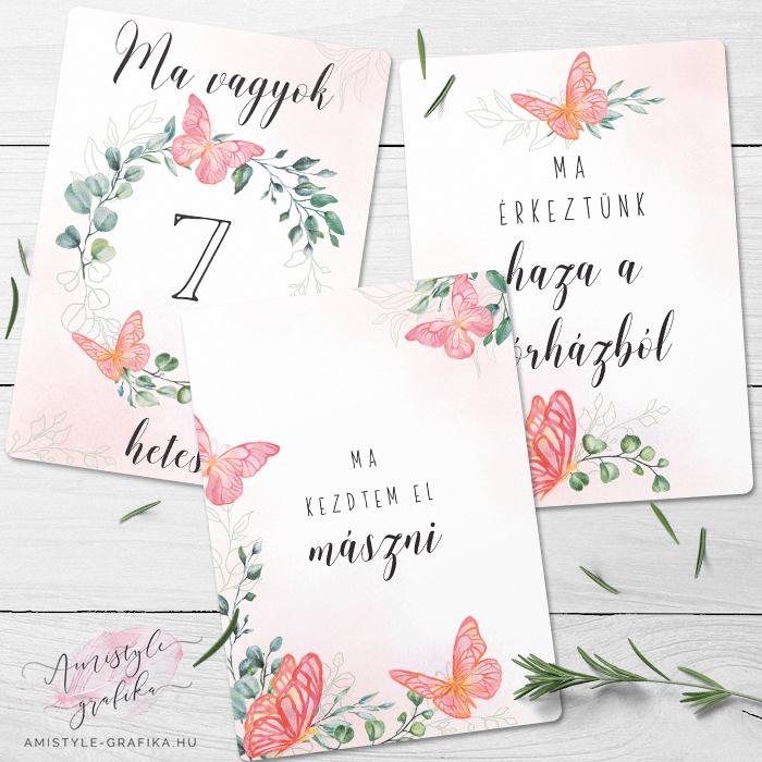 Pink Pillangós Kisbaba Mérföldkő Kártyák - 52 darabos