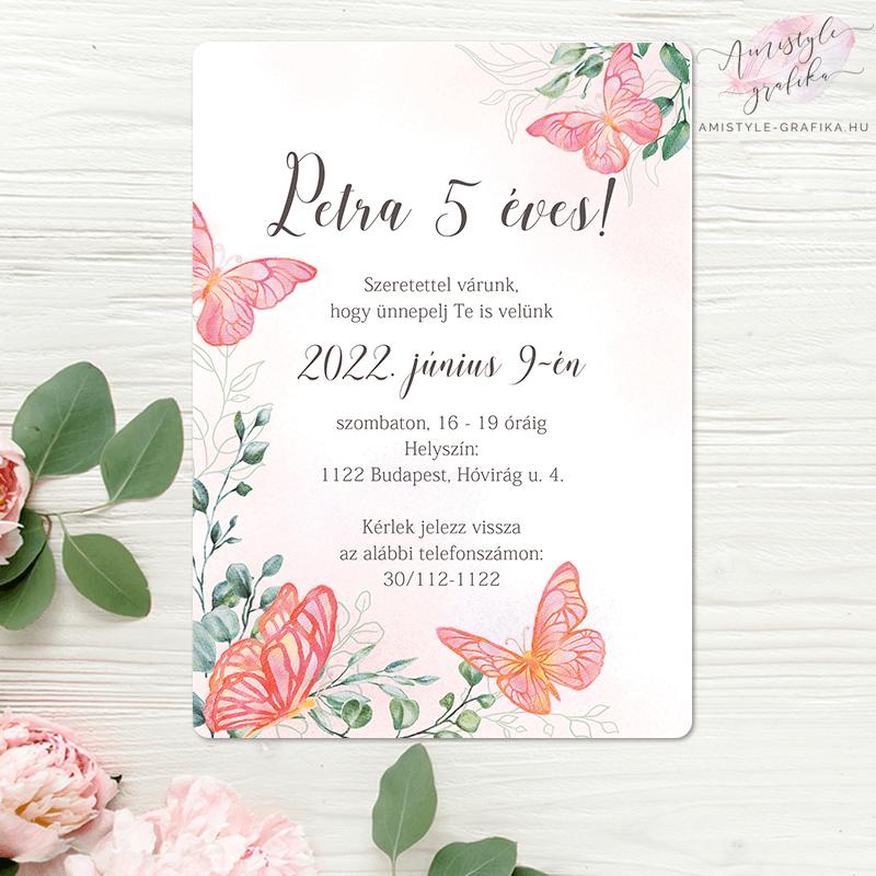 Pink Pillangós Akvarell Születésnapi Meghívó