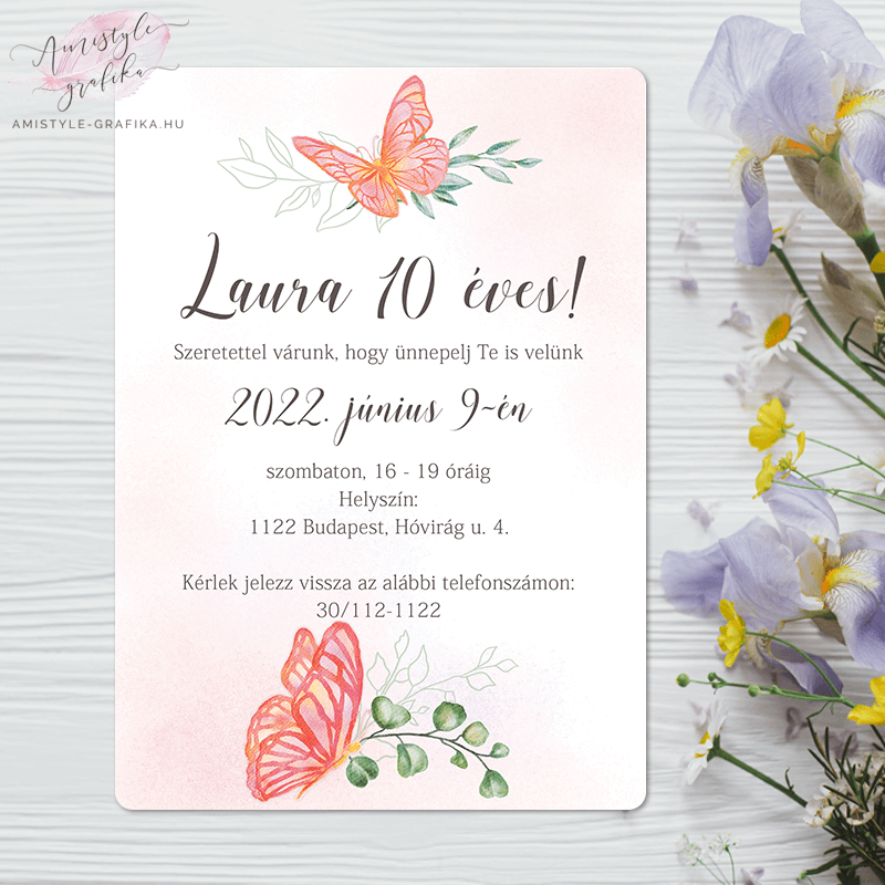 Rózsaszín Pillangós Festett Grafikás Születésnapi Meghívó