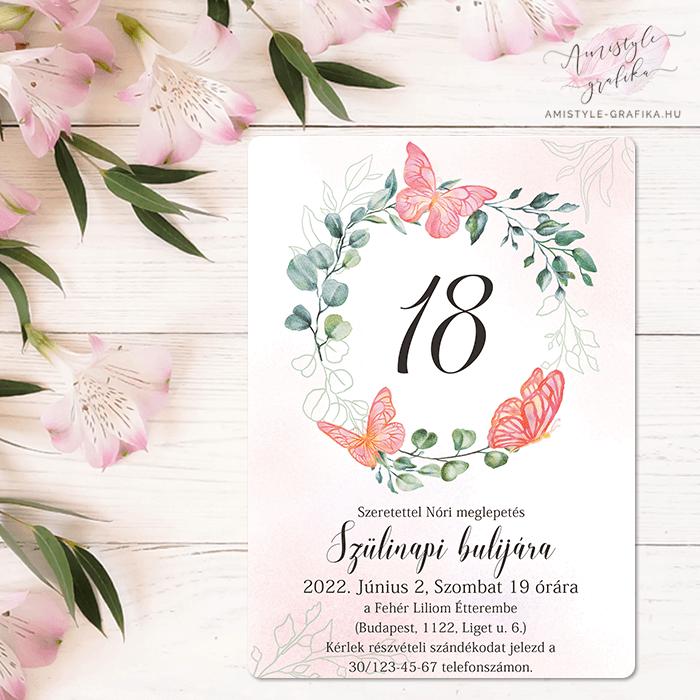 Pink Pillangós és Virágkoszorús Festett Grafikás Születésnapi Meghívó