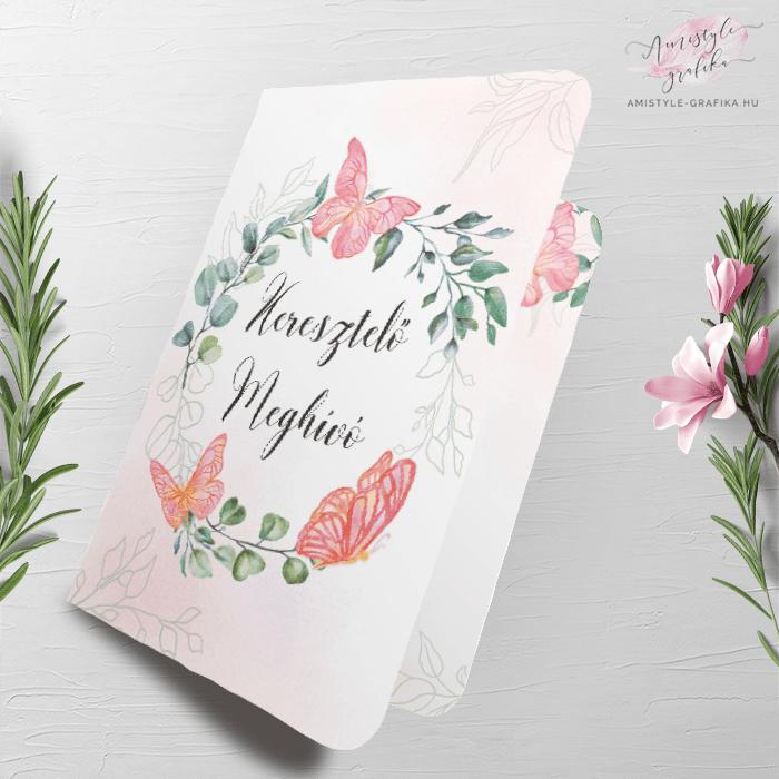Rózsaszín Pillangós Hajtott Keresztelő Meghívó