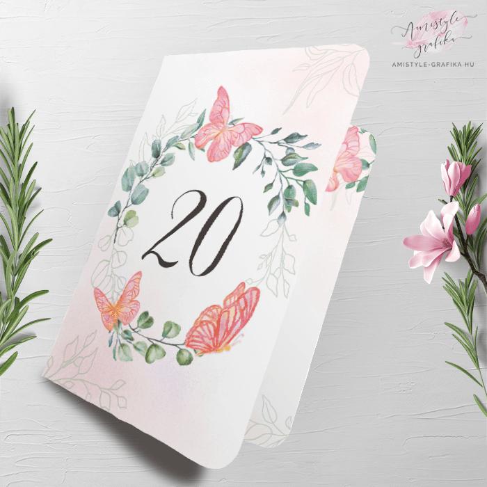 Rózsaszín Pillangós Hajtott Szülinapi Meghívó - Bármilyen évszámmal