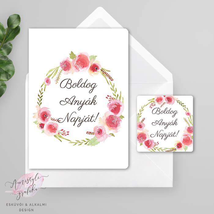 Rózsakoszorús Anyák Napi Fényképes Üdvözlőlap Ajándékkísérő Kártyával