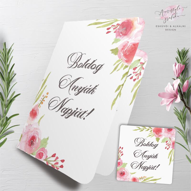 Rózsás Anyák Napi Fényképes Üdvözlőlap Ajándékkísérő Kártyával