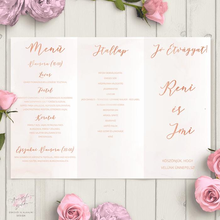 Rosegold Pink Esküvői Háromszög Menü