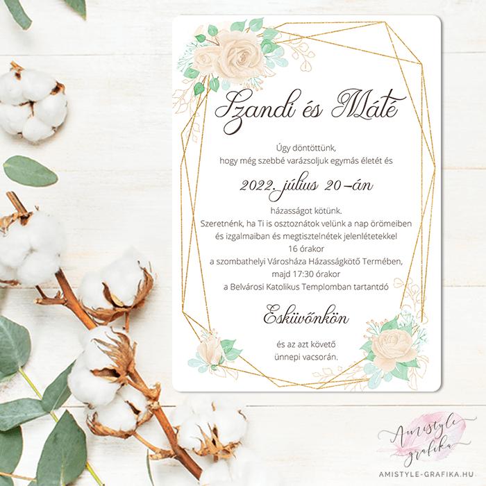 Bézs Geometrikus Egylapos Esküvői Meghívó