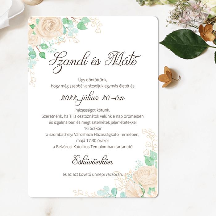 Bézs Rózsás Egylapos Esküvői Meghívó