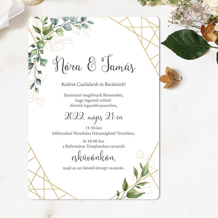 Greenery Geometrikus Egylapos Esküvői Meghívó
