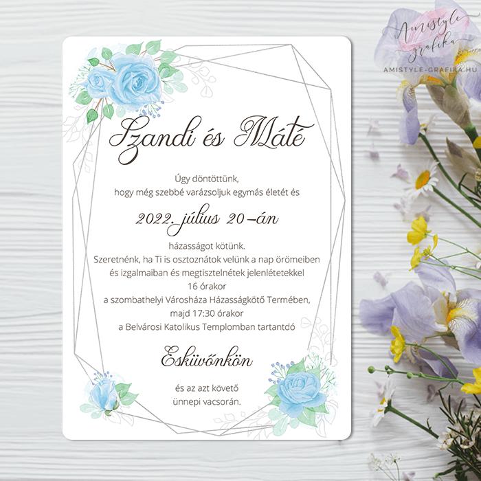 Kék Geometrikus Egylapos Esküvői Meghívó