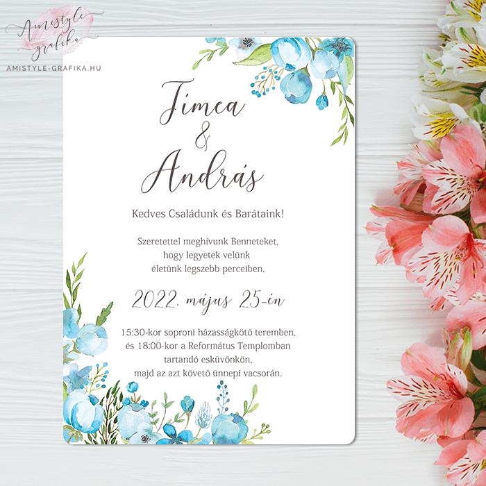 Türkiz Floral Egylapos Esküvői Meghívó