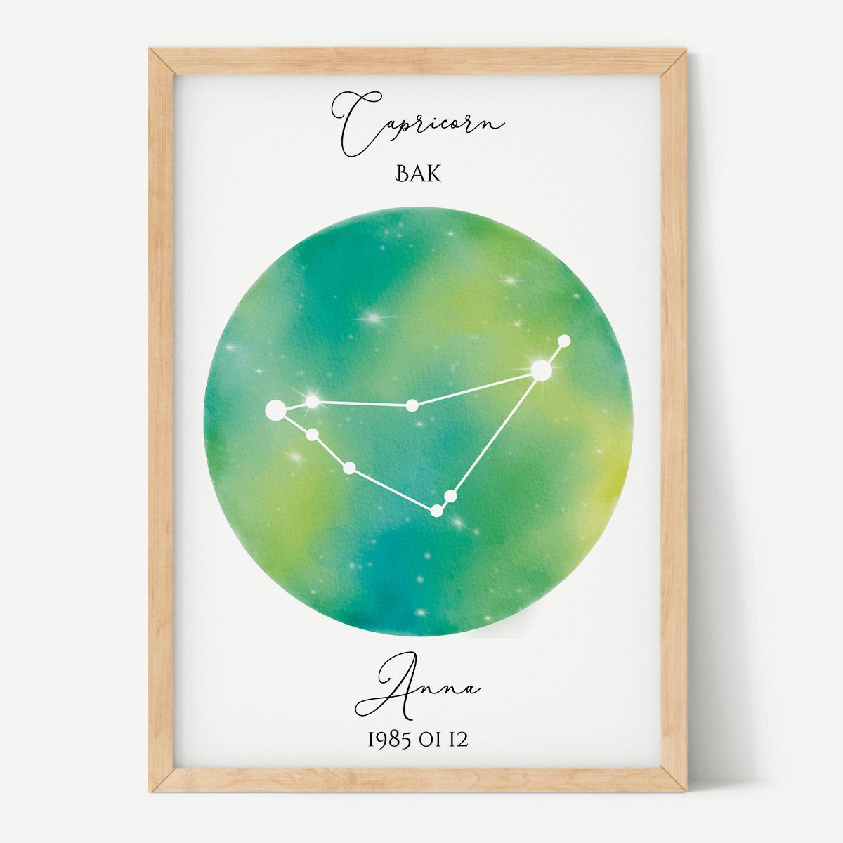 Zöld-Sárga Égbolt - Személyre szabott csillagjegyes poszter - Választható csillagjegy