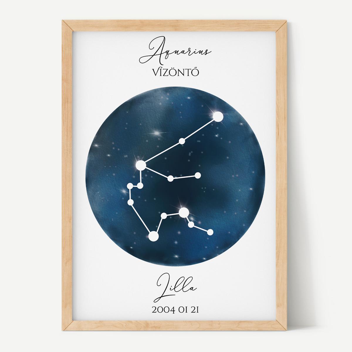 Sötétkék Égbolt - Személyre szabott csillagjegyes poszter - Választható csillagjegy