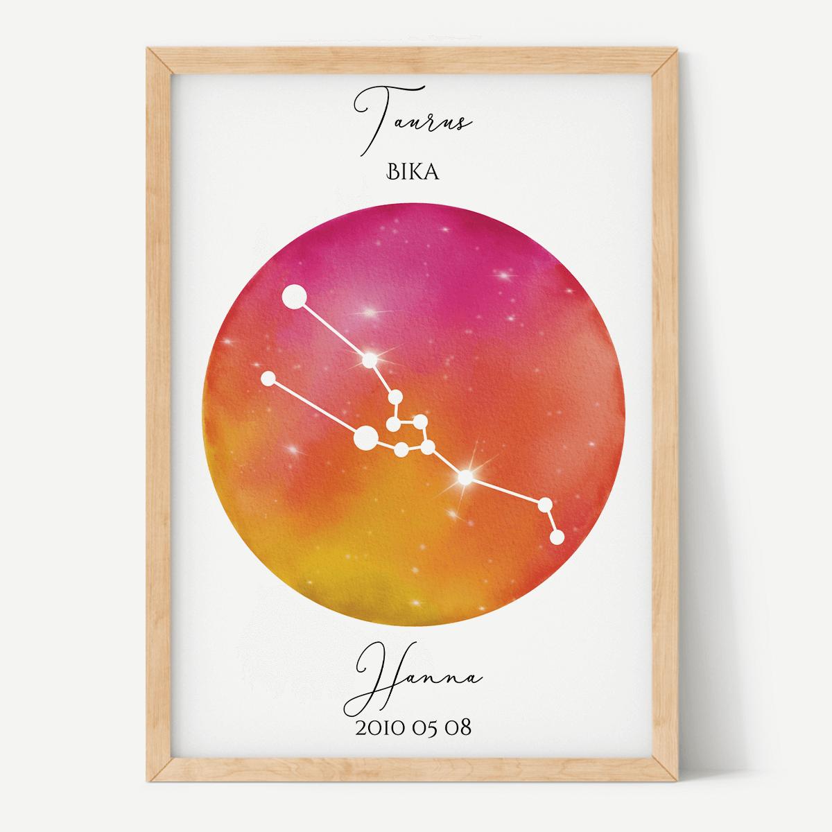 Vörös-Narancs Égbolt - Személyre szabott csillagjegyes poszter - Választható csillagjegy