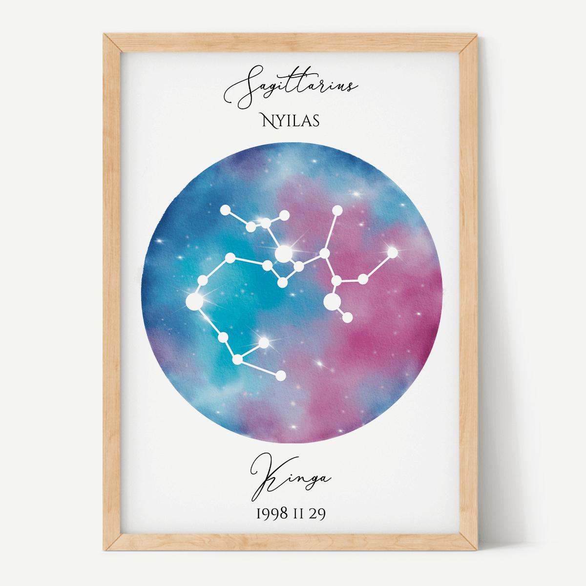 Kék Lila Égbolt - Személyre szabott csillagjegyes poszter - Választható csillagjegy