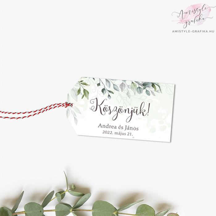 Boho Greenery Virágos Ajándékkísérő Kártya