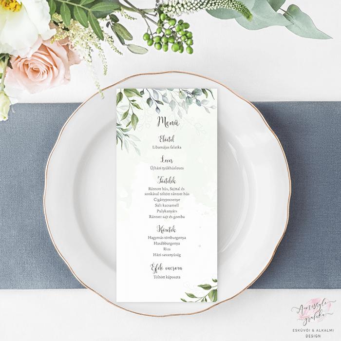 Boho Greenery Akvarell Esküvői Menü Kártya Lap