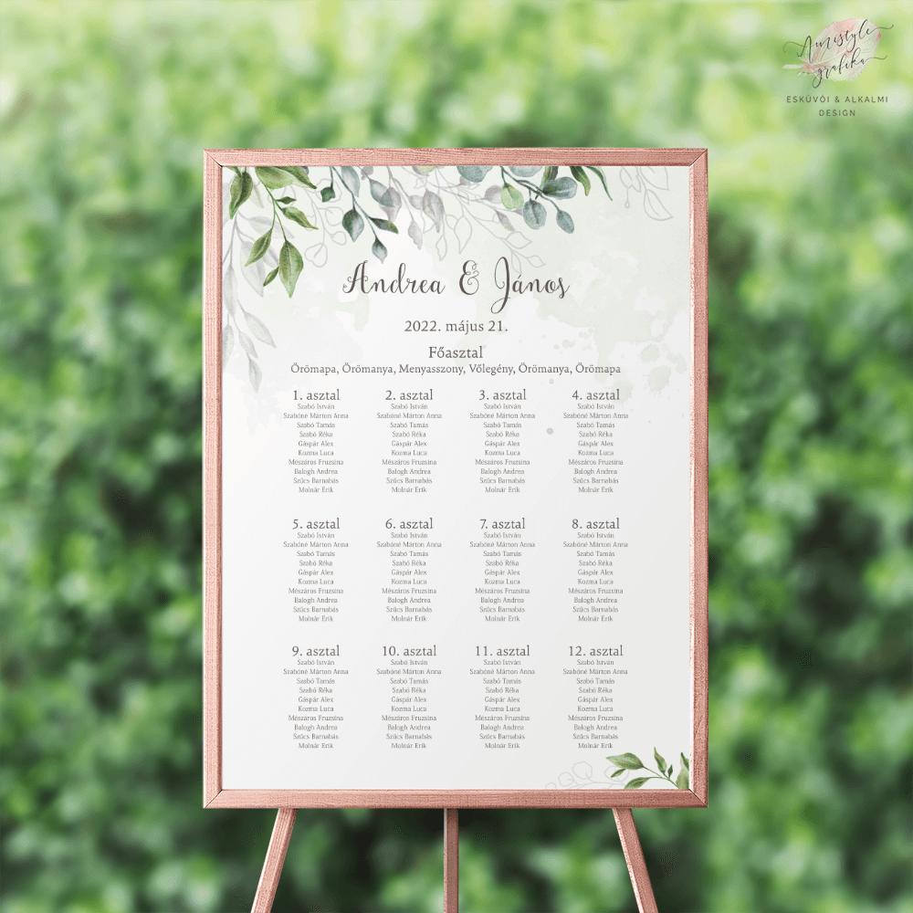 Boho Greenery Esküvői Ültetési Rend - Álló