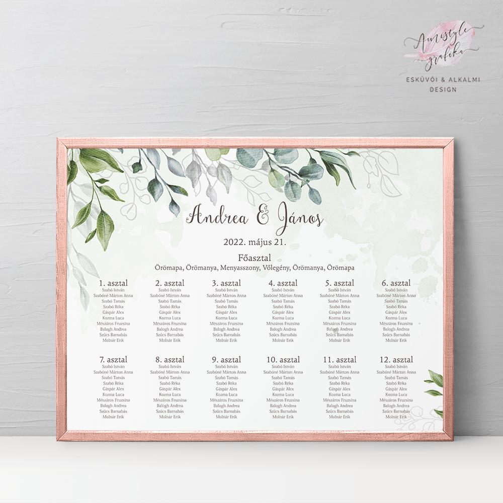 Boho Greenery Esküvői Ültetési Rend - Fekvő formátum
