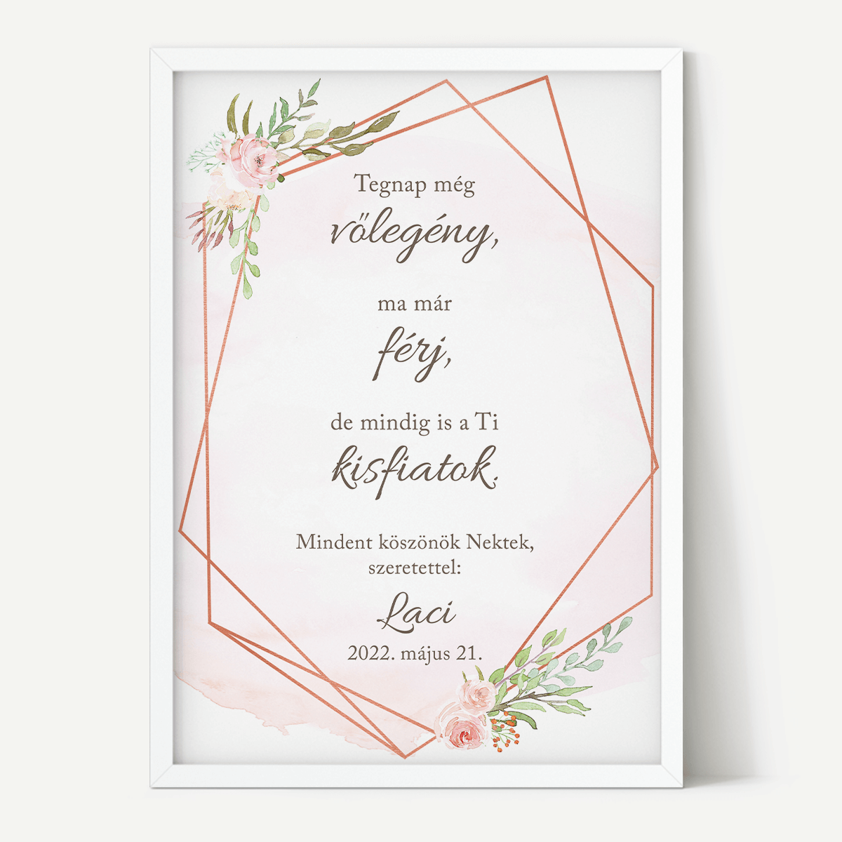 Geometrikus Szülőköszöntő Ajándék Poszter - Menyasszonynak és vőlegénynek is - Több méretben