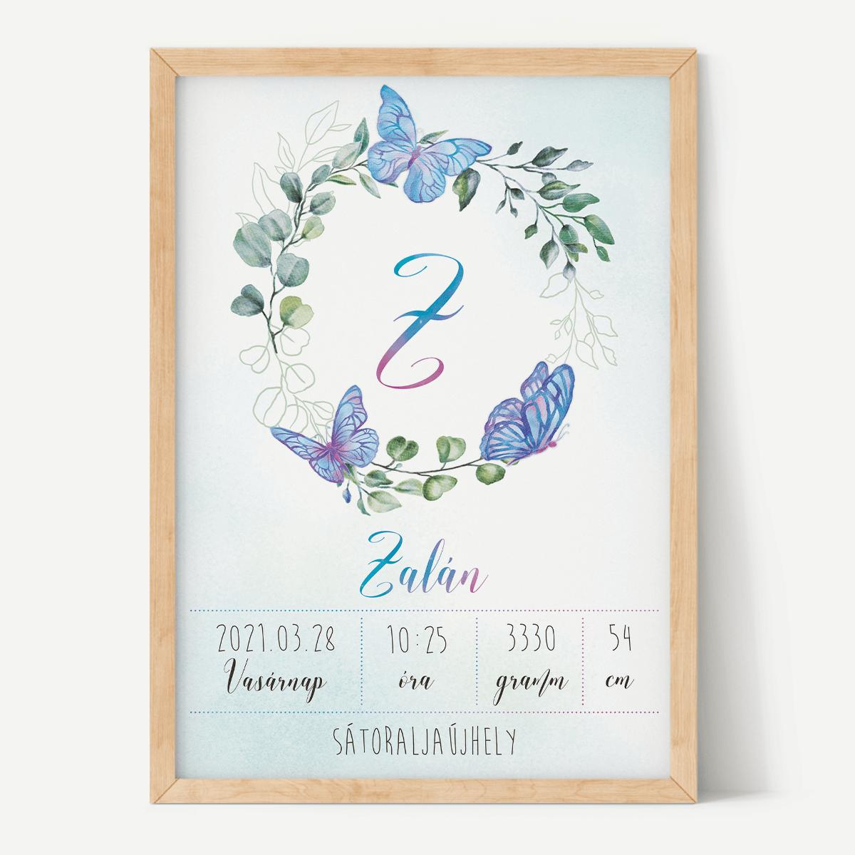 Kék Pillangós - Monogramos Születési Babaposzter