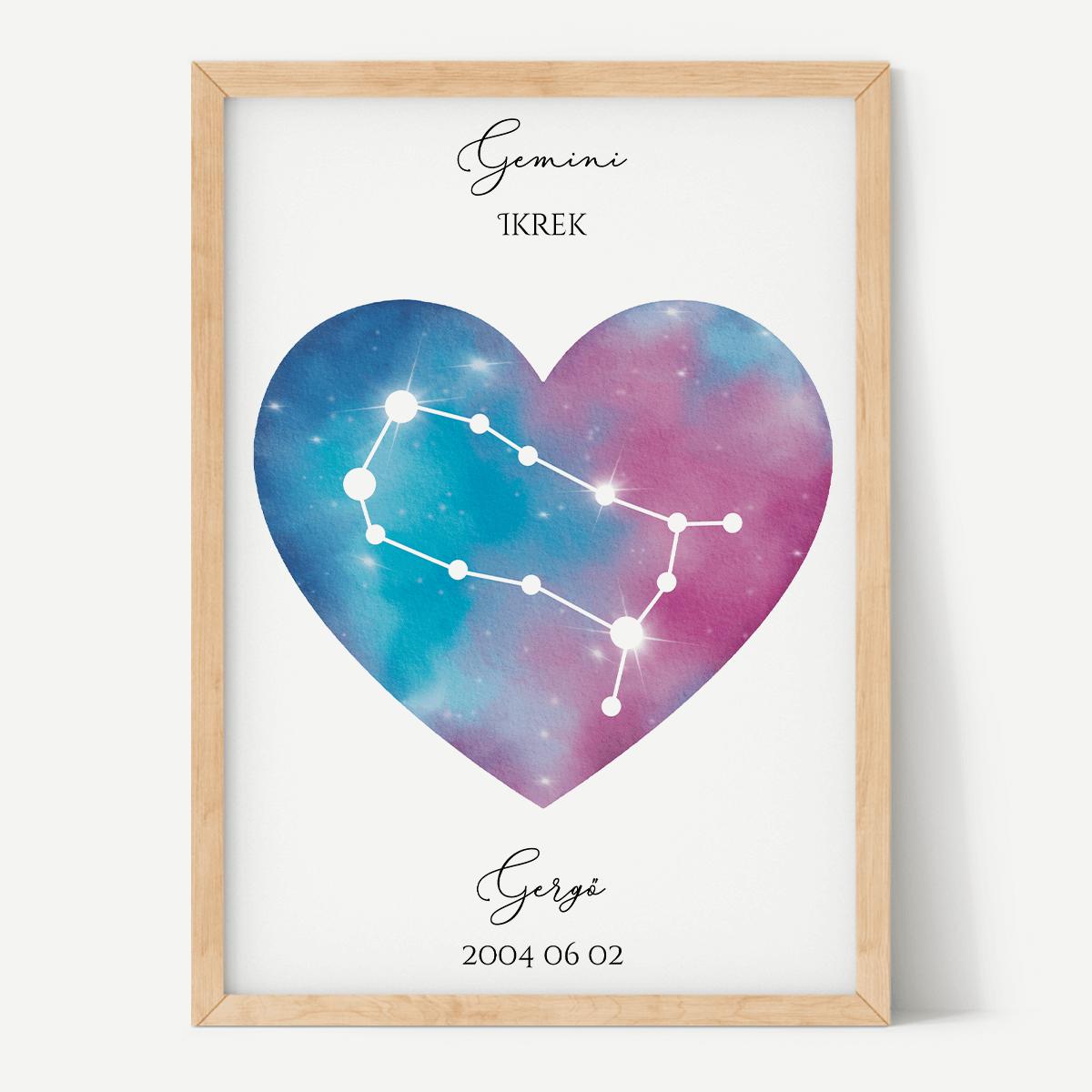 Kék Lila Égbolt - Szív - Személyre szabott csillagjegyes poszter - Választható csillagjegy