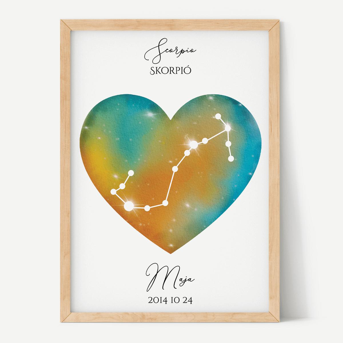 Türkiz-Narancs Égbolt - Szív - Személyre szabott csillagjegyes poszter - Választható csillagjegy