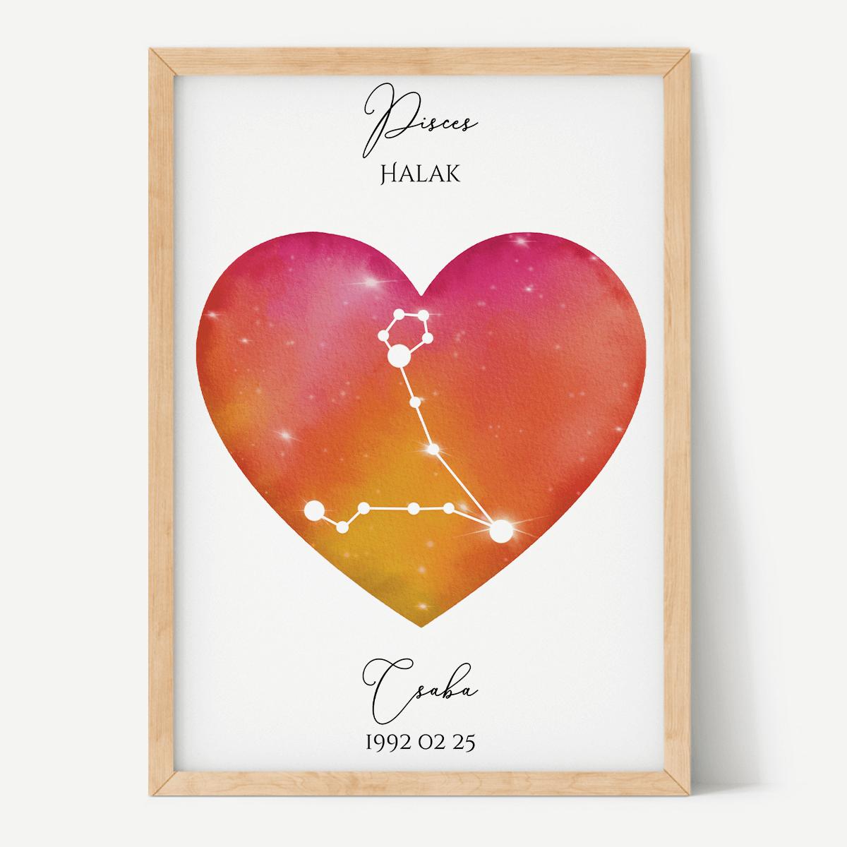 Vörös-Narancs Égbolt - Szív - Személyre szabott csillagjegyes poszter - Választható csillagjegy