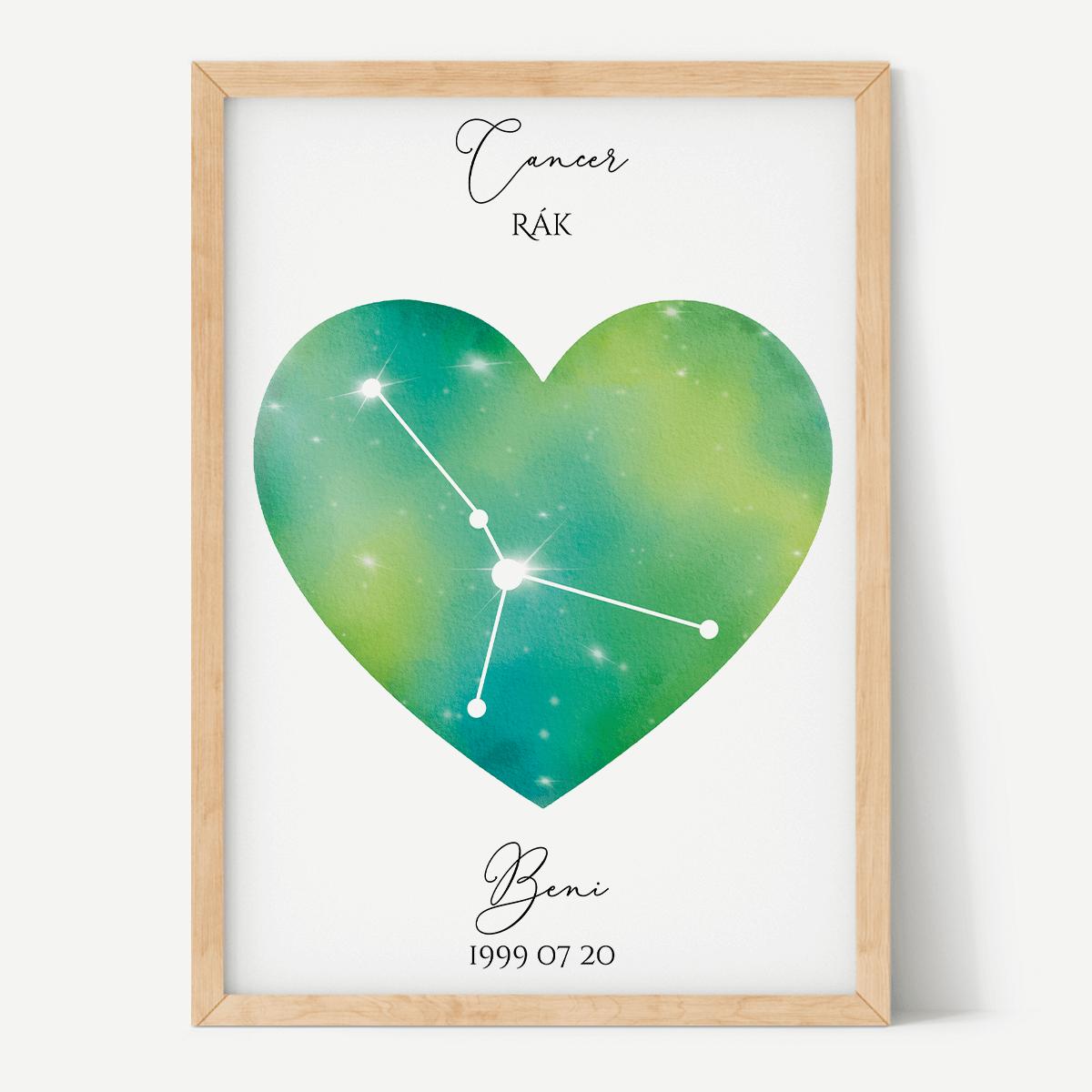 Zöld-Sárga Égbolt - Szív - Személyre szabott csillagjegyes poszter - Választható csillagjegy